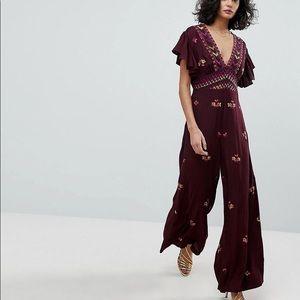 Free people Cleo burgundy  jumpsuit